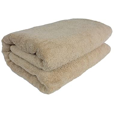 SALBAKOS Luxury Spa 100% Combed Turkish Cotton Large Oversized Eco-Friendly Bath Sheet 40 x 80 Inch, Taupe