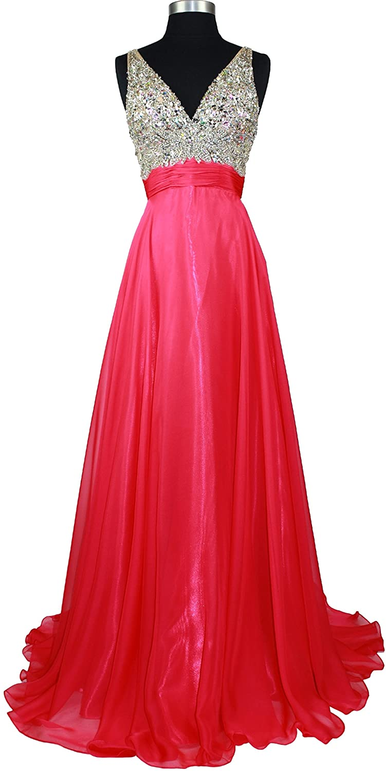 Meier Women's Rhinestone A Line Formal Chiffon Prom Dress