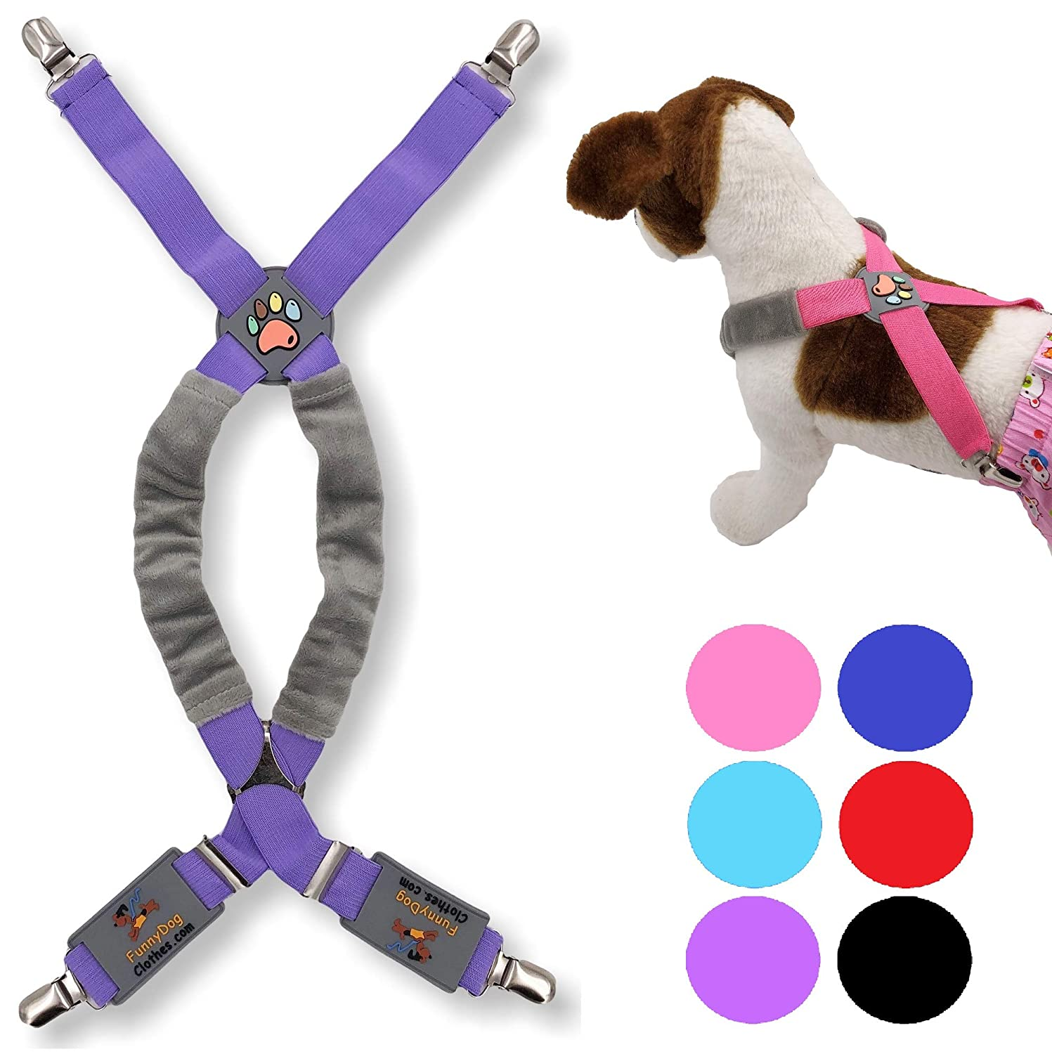 FunnyDogClothes Dog Suspenders for Pet Clothes Apparel Diapers Pants Skirt Belly Bands Small Medium and Large Dogs
