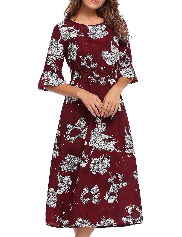C_wine Red Justrix Women's Vintage Floral Print V Neck Short Sleeve Ruffle Knee Length Tunic Beach Dress