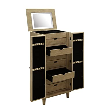 Abington Lane Kathy Ireland Home Jewelry Armoire and Cabinet - Large Organizer with 2 Doors, Spacious Drawers, and Mirror (Driftwood Finish)