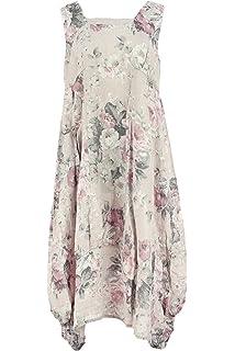 d57756e3a4 TEXTURE Ladies Womens Italian Lagenlook Floral Sleeveless Square Neck Linen  Long Midi Dress One Size Black