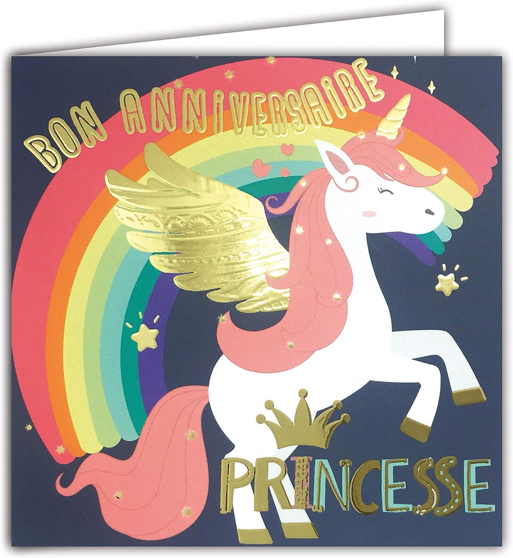 Tarjeta cuadrada de buena calidad de cumpleaños, diseño de princesa en oro brillante con unicornio, diseño de caballo mágico con alas texturizadas, efecto relieve.
