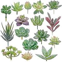 Augshy 16 Pack Artificial Succulent Flocking Plants Unpotted Mini Fake Succulents Plant for Lotus Landscape Decorative…