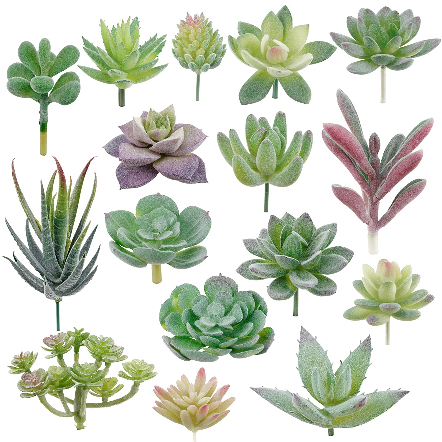 Augshy 16 Pack Artificial Succulent Flocking Plants Unpotted Mini Fake Succulents Plant for Lotus Landscape Decorative Garden Arrangement Decor