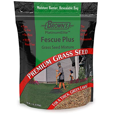 F.M. Brown's PlatinumElite Fescue Plus Grass Seed Mixture - 99.9 Percent Weed Free, Fast-Growing Perennial Seeds for Beautiful Lawns - 1lb : Garden & Outdoor