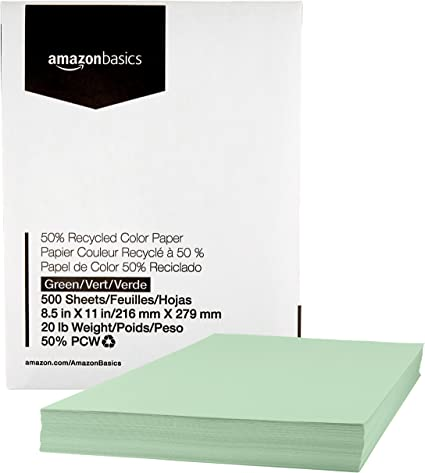 Amazon.com: AmazonBasics Papel de copia de color reciclado ...
