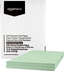 AmazonBasics Papel para copia, verde, reciclado PCW 50 por ciento, 9.07 kg, 8.5 x 11, 500 hojas por resma