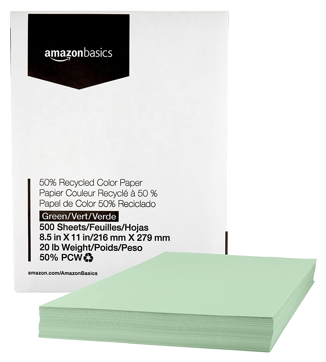 AmazonBasics 50% Recycled Color Paper - Green, 8.5 x 11 Inches, 20 lbs, 1 Ream (500 Sheets)