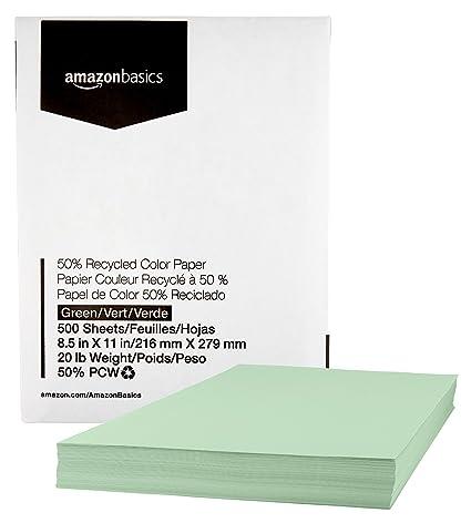 4e48e2a27 Amazon.com : AmazonBasics 50% Recycled Color Printer Paper - Green ...