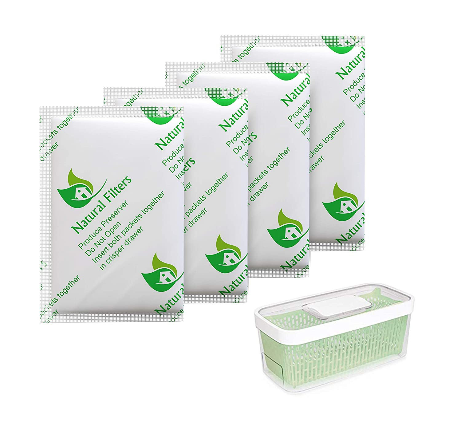 Natural Filters 4 Pack Greensaver Produce Preserver Filter Refills Compatible With OXO Greensaver - 11145300 Fully Breathable Tyvek Sachet