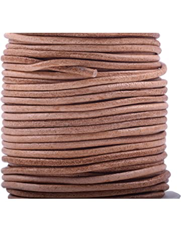 52d91df4a86b4 Konmay 1 Roll 25 Yards 1.5mm Natural Color Soft Round Real Jewelry Leather  Cord