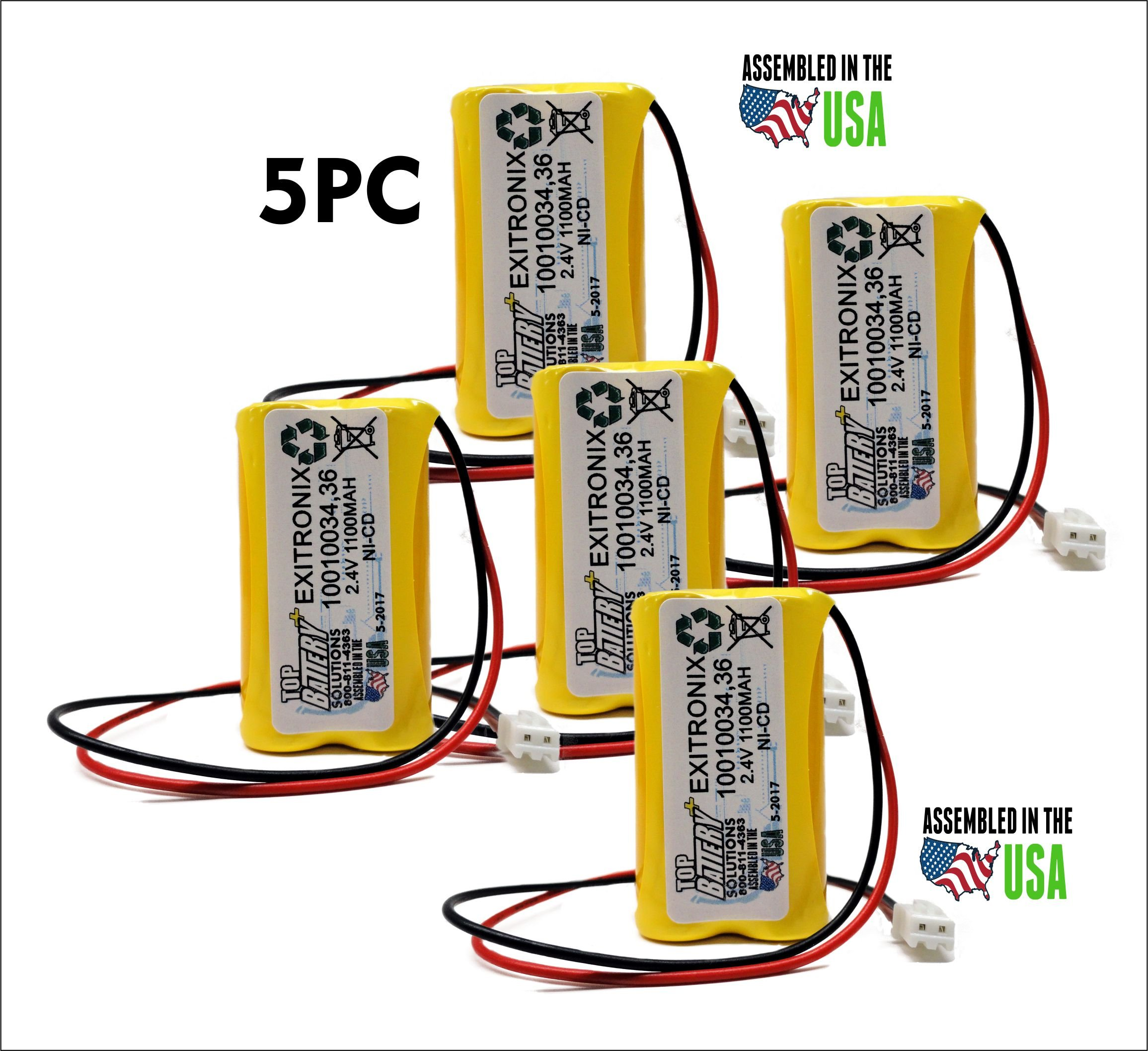 5PC Exitronix 10010034, Exitronix 10010036, Exell EBE-179,UNITECH 900AA MAH 2.4V REPLACEMENT BATTERY