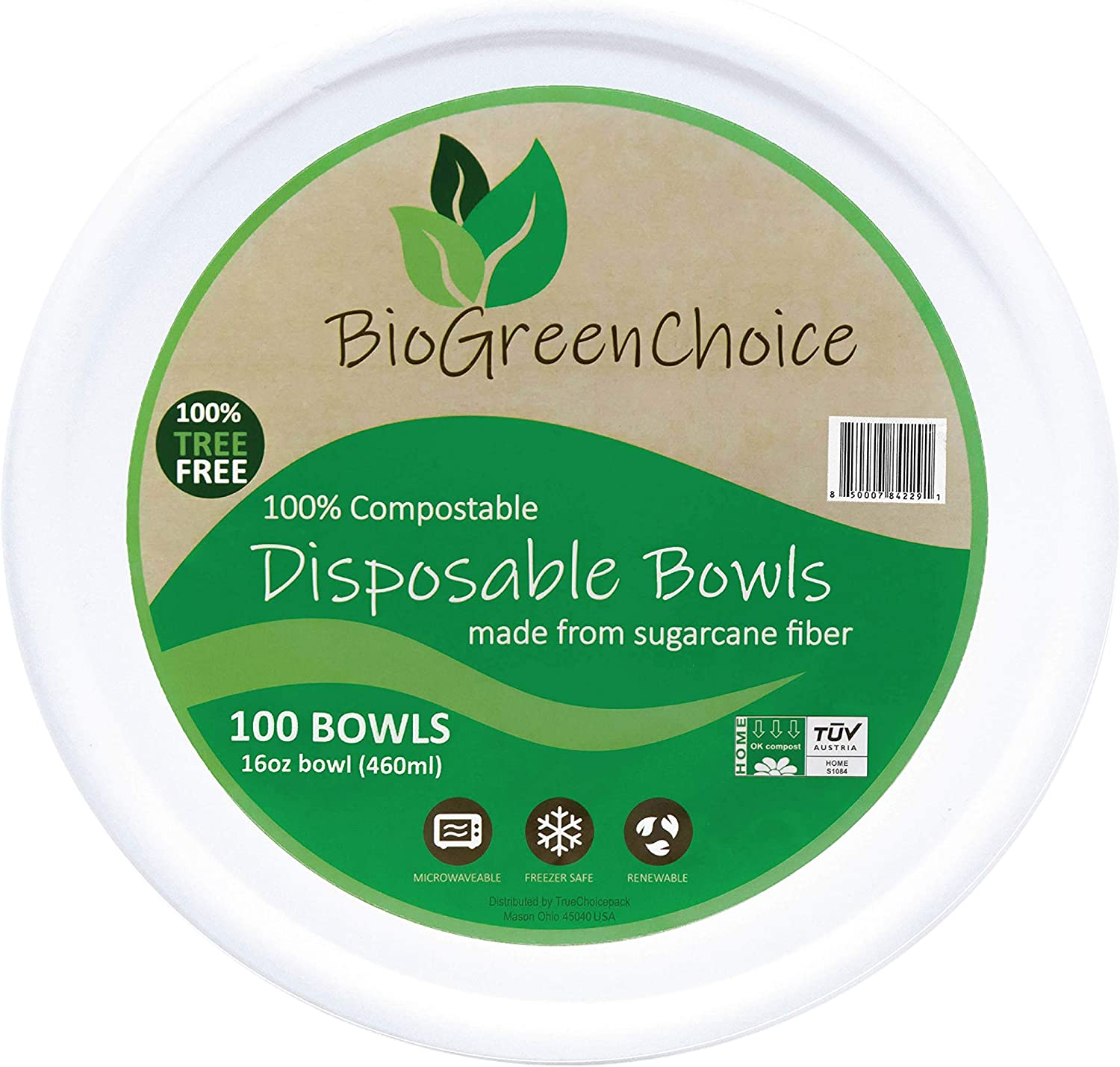 BioGreenChoice Compostable White 16 oz. large Paper bowls(100 Count),Eco-Friendly Biodegradable Bagasse/Natural Sugarcane Disposable Soup Bowl, Hefty & Heavy-Duty bowls for Chili & Soup–Microwave safe