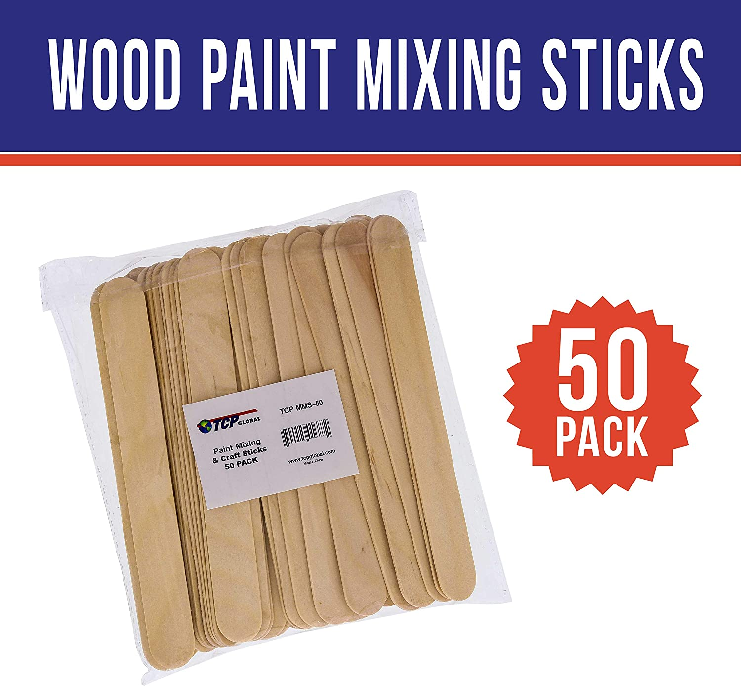 50 Pack TCP Global Wood Paint Mixing Sticks Automotive Crafts Airbrush Art