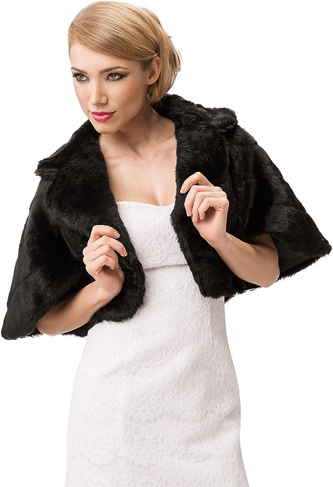 Women Faux Fur Wedding Bridal Shawl Wrap Stole Shrug Bolero Cape Fully lined