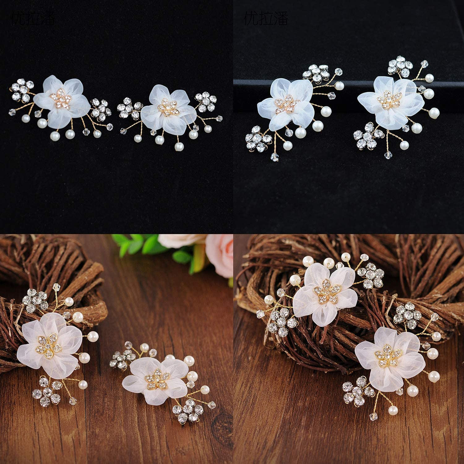 Florashop Womens 2PC Wedding Party Shoes Clips Rhinestone Pearl Crystal Flower Decorative Jewelry Clips Removable Shoe Decorations