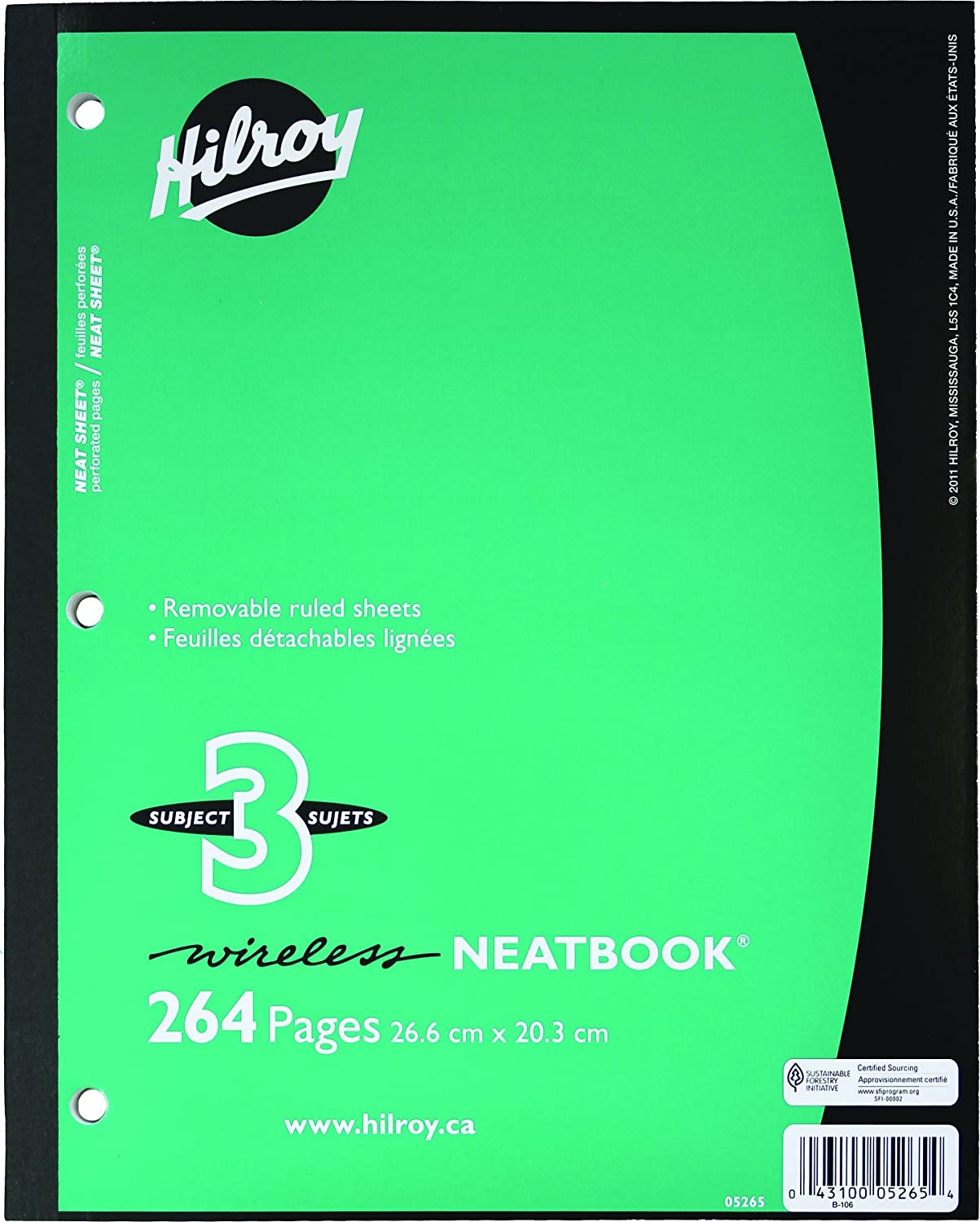 Hilroy Neatbook Wireless Notebook, 3 Subject, 132 Sheets/264 Pages, 10-1/2 X 8 Inches, Assorted Colors (05265)