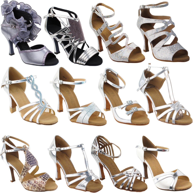 50 Shades Silver Dance Shoes: SERA7013 Silver Grey Satin, 3'' Heel, Size 5