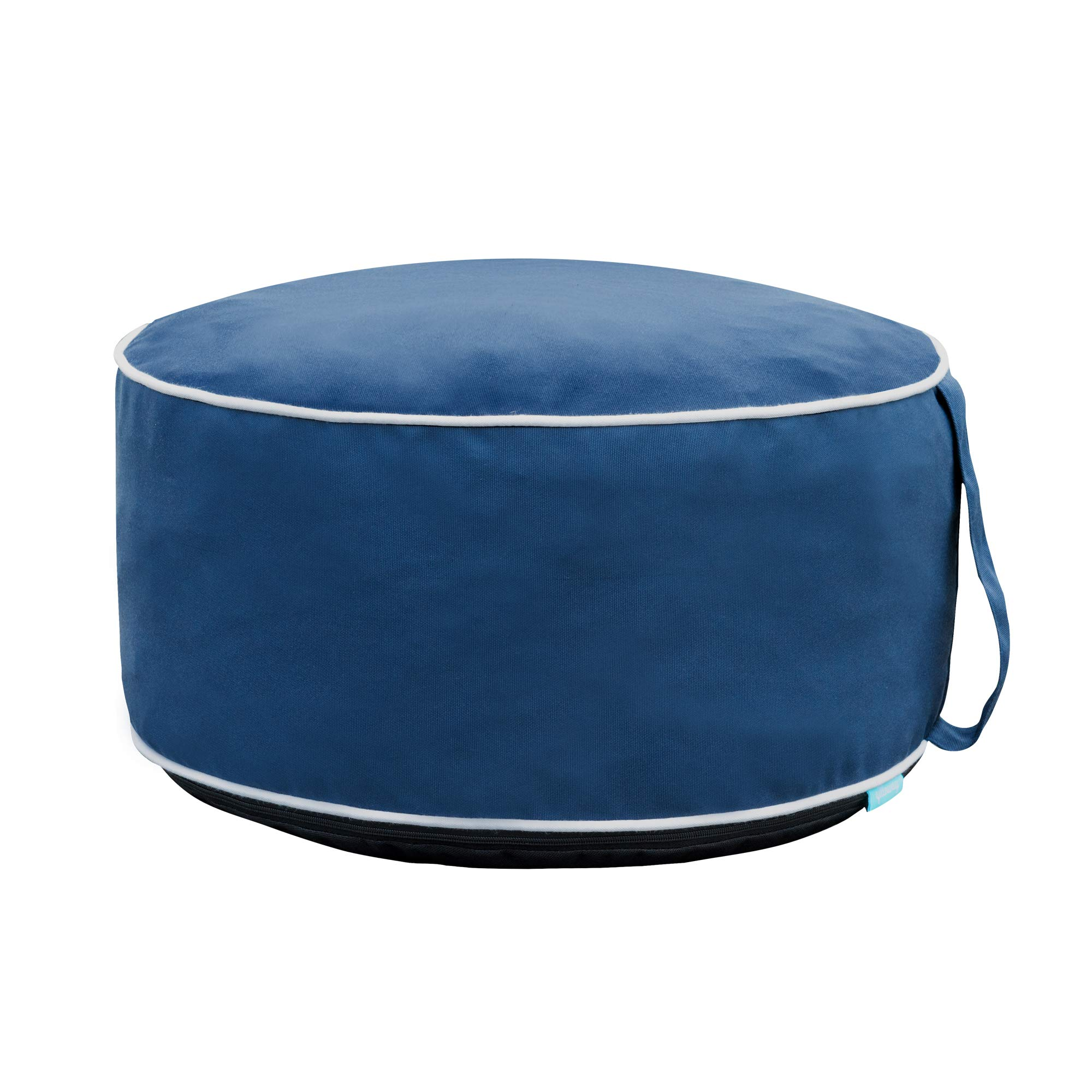 QILLOWAY Indoor/Outdoor Inflatable Stool,Round Ottoman,Foot Rest for Kids or Adults, Camping or Home (Navy Blue)