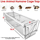 Rat Trap - Live Animal Trap Preassembled Heavy Duty Easy Bait for Small Animal Humane Live Outdoor Cage Lightweight Aluminum Spring Triggered Door Mechanism w/ Latch - Easy to set up