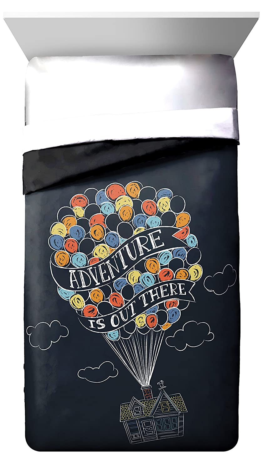 "Disney/Pixar Up Balloon Travel ""Adventure is Out There"" Twin/Full Reversible Comforter, Dark Blue/Black"