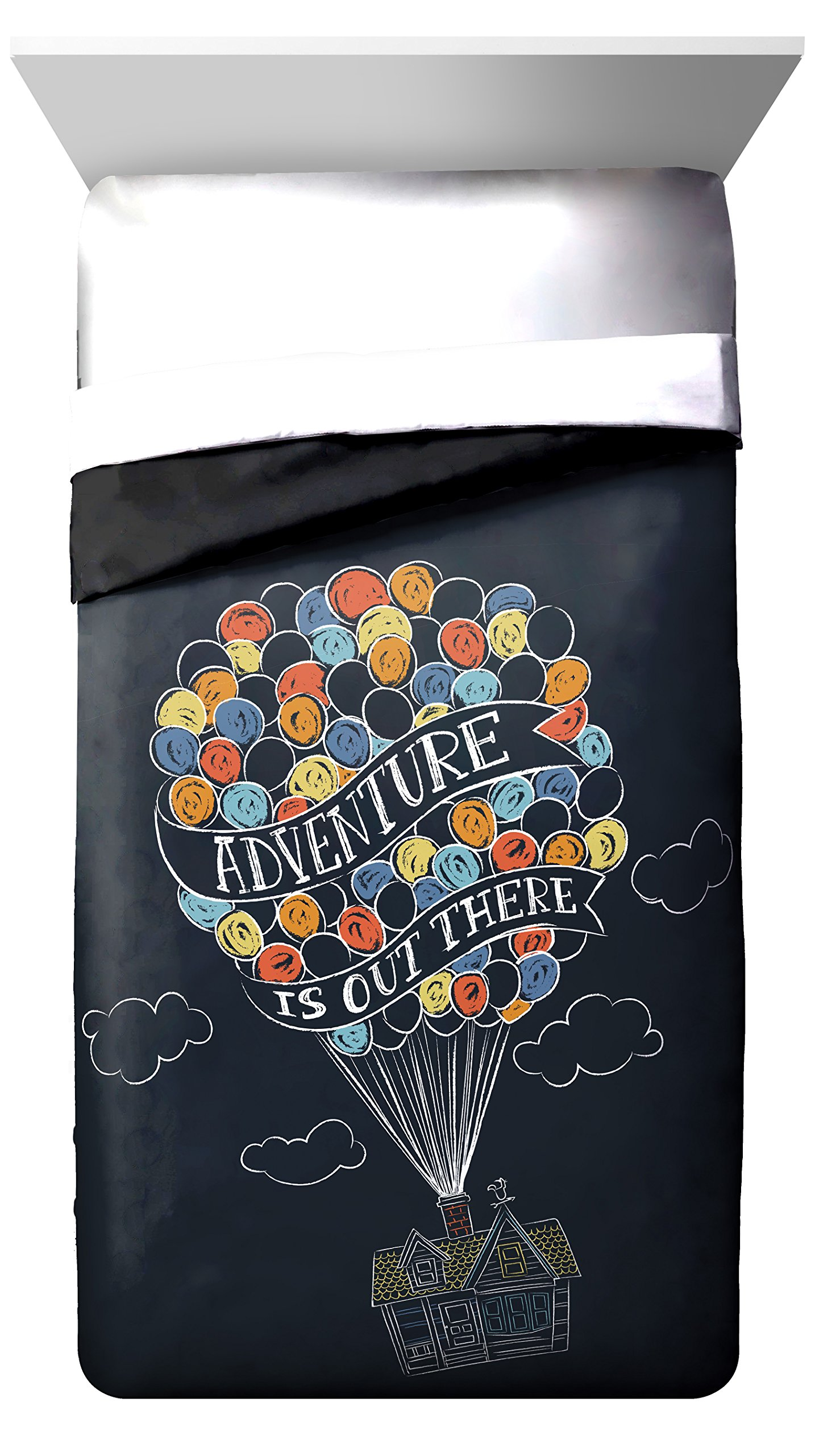 Disney/Pixar Up Balloon Travel ''Adventure is Out There'' Twin/Full Reversible Comforter, Dark Blue/Black