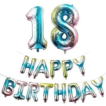Jolintek Cumpleaños Globos Fiesta de Feliz, Número 18 Globo Letras Tipo Happy Birthday Globos de Gradiente Mylar Foil Globo Decoración de Fiesta ...