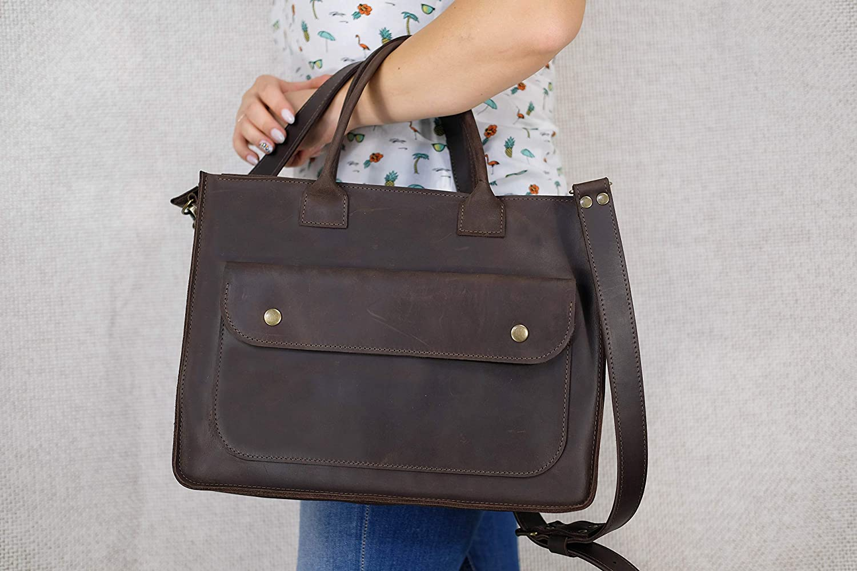 Business messenger bag, Leather messenger women, Dark brown messenger women Leather shoulder bag Crossbody bag Satchel Handbag personalized