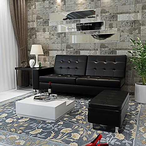 Phenomenal Wellgarden Morden Black Faux Leather Corner Sofa Bed Recliner Sofabed 3 Seater Storage Sofabed Couch Sleeper Bed With Ottoman Foot Stool And Cup Pabps2019 Chair Design Images Pabps2019Com
