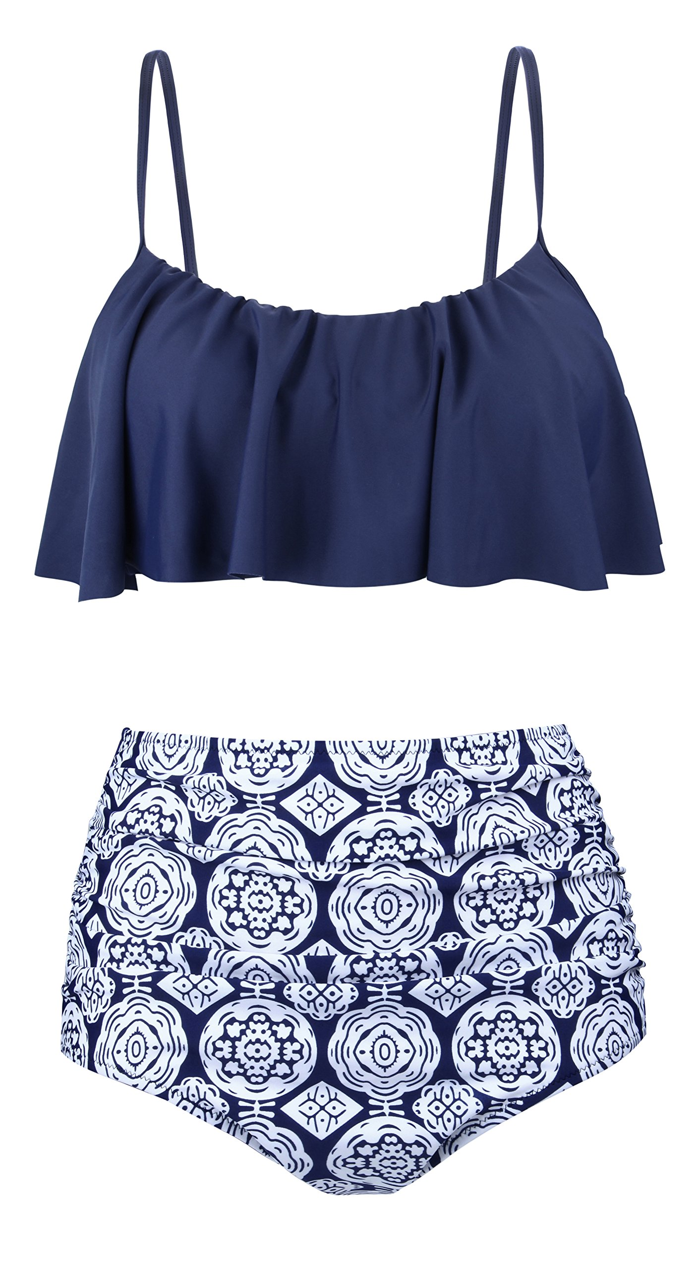 Angerella Swimsuits For Women Ruffled Top Swimwear High Waisted Bikini,Navy,US 4-6=Tag Size M