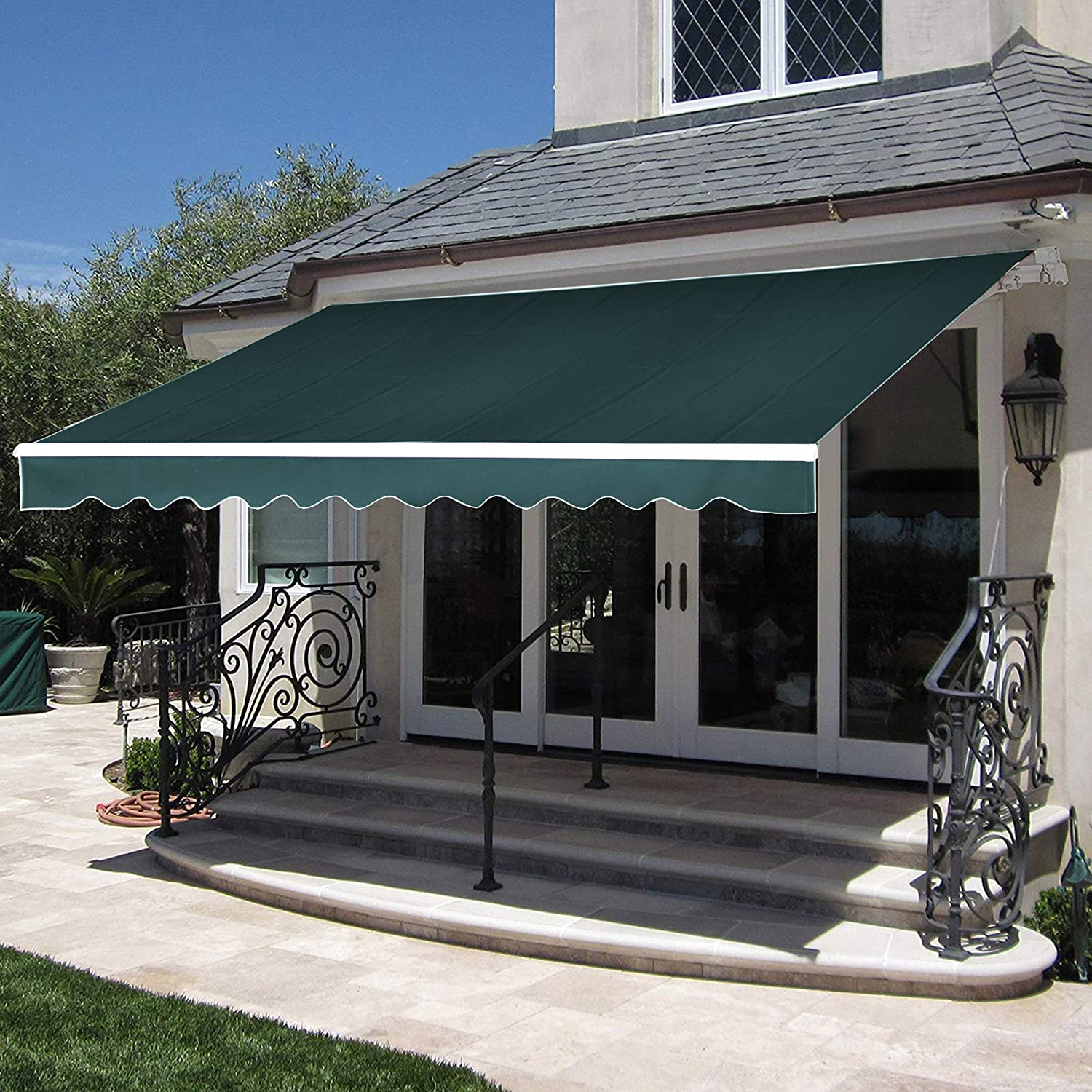 MCombo 12×10 Feet Manual Retractable Patio Door Window Awning Sunshade Shelter Outdoor Canopy Green