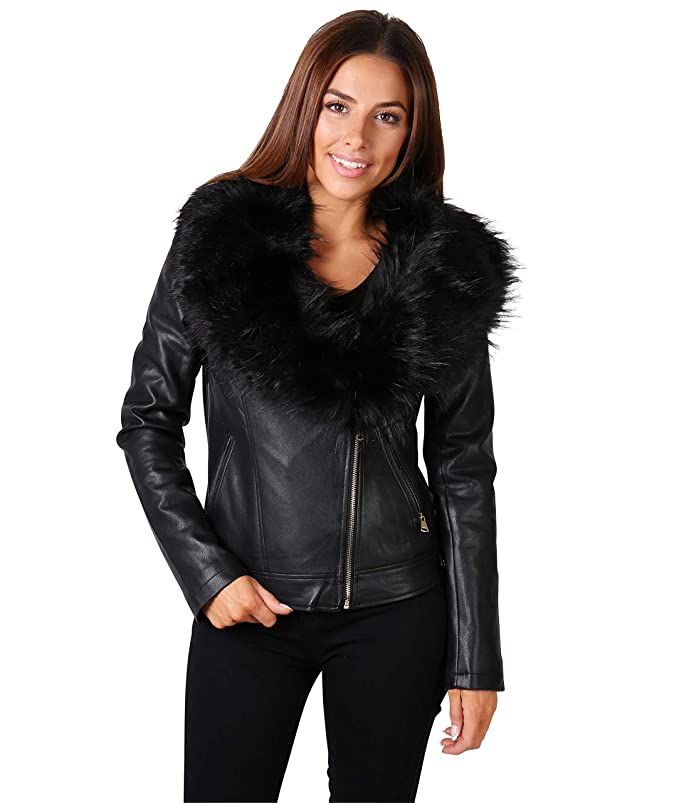 KRISP Womens Faux Fur PU Leather Zipper Motorcyle Biker Jacket Coat at Amazon Womens Coats Shop