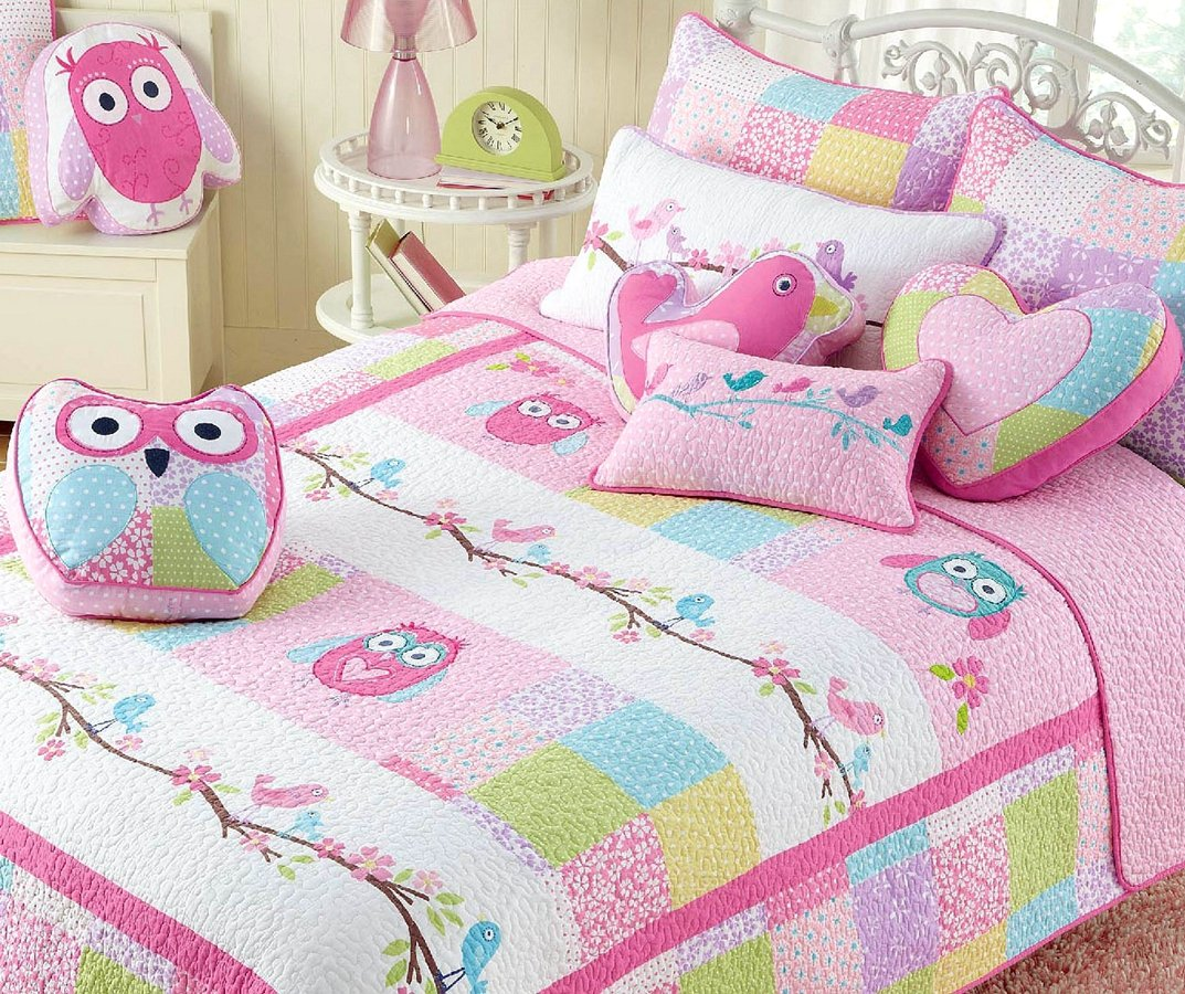 Cozy Line Home Fashions 7-Piece Quilt Bedding Set, Pink Owl Blue Green White Print 100% COTTON Bedspread Coverlet Set, Gifts for Kids Girls (Full/Queen- 7pc: 1 quilt + 2 shams + 4 Decorative Pillows ) by Cozy Line Home Fashions