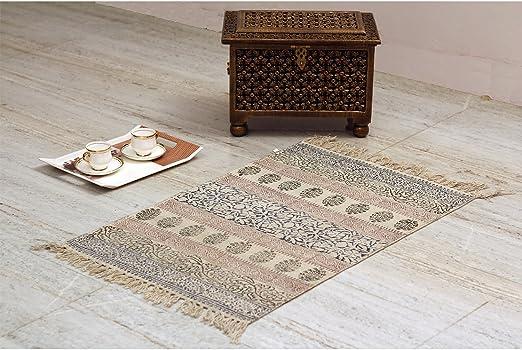 Tejido de comercio justo 100% algodón Handloom alfombra 60 x 90 cm. Rugs – Alfombra para Sala de estar. Alfombras y corredores: Amazon.es: Hogar