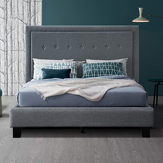 Amazon Com Inofia King Upholstered Bed Frame Diamond Tufted Platform Bed With Upholstery Headboard Strong Wood Slats And Center Support Legs No Box Spring Needed Bed In A Box Easy Assembly Kitchen