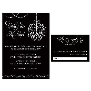 100 Hochzeit Einladungen Gothic Schwarz Weiß Kronleuchter + Antwort Karten  Umschläge