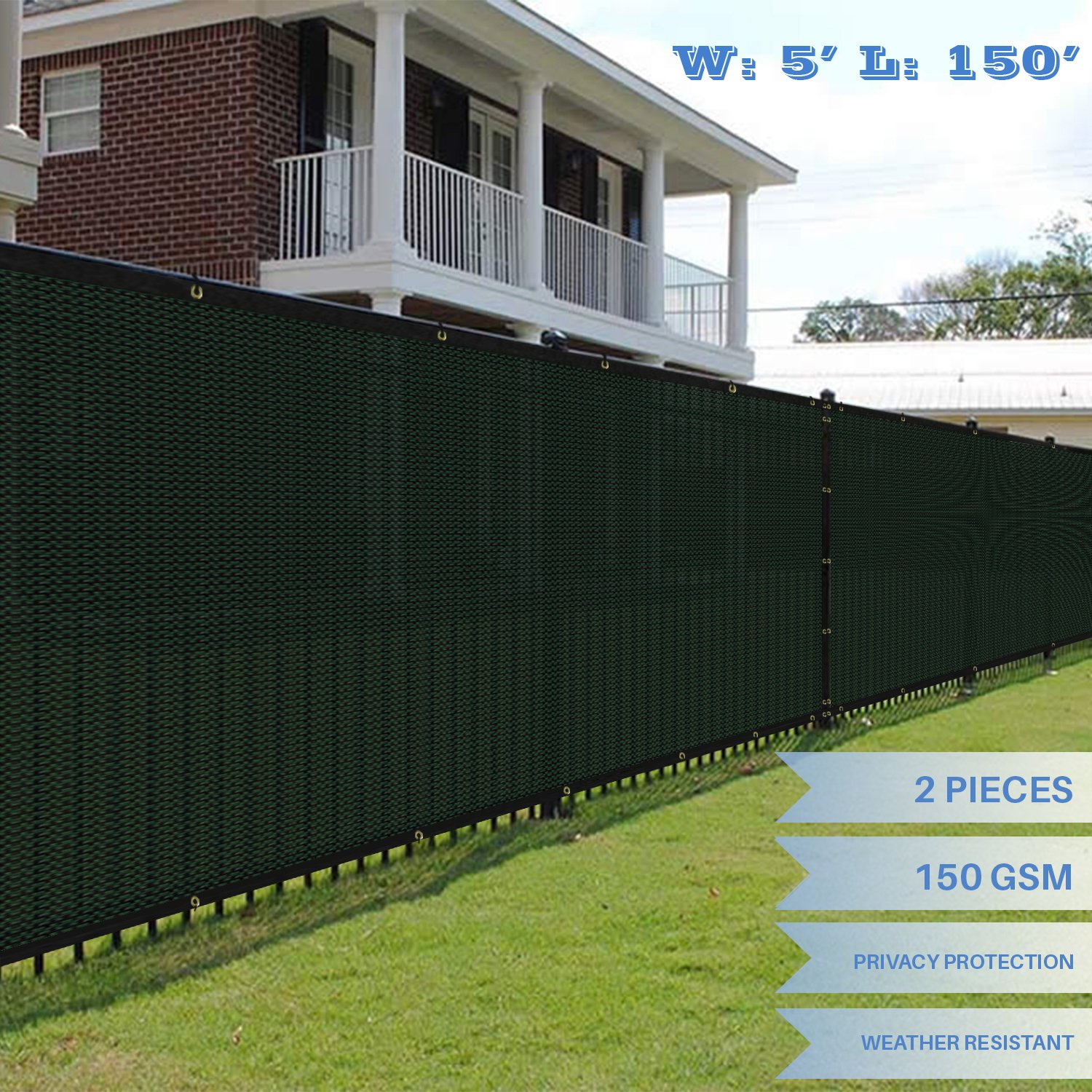 E&K Sunrise 5' x 150' Green Fence Privacy Screen, Commercial Outdoor Backyard Shade Windscreen Mesh Fabric 3 Years Warranty (Customized Sizes Available) - Set of 2