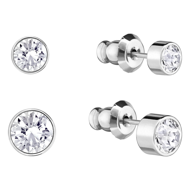 82ec075f5 Swarovski Harley Pierced Earring Set, White, Rhodium plating: Amazon.co.uk:  Jewellery