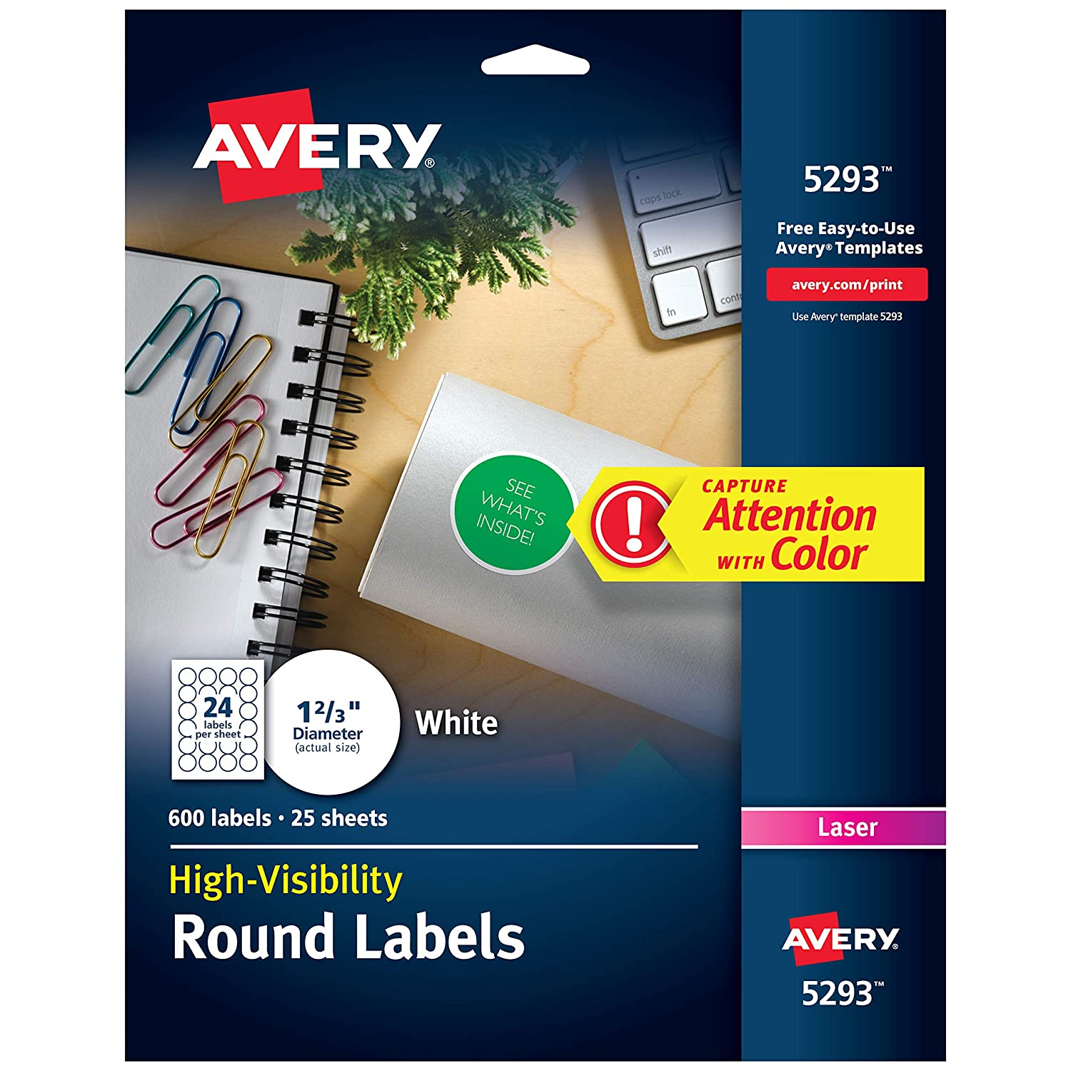 Amazon Avery High Visibility 1 23 Inch Diameter White Labels
