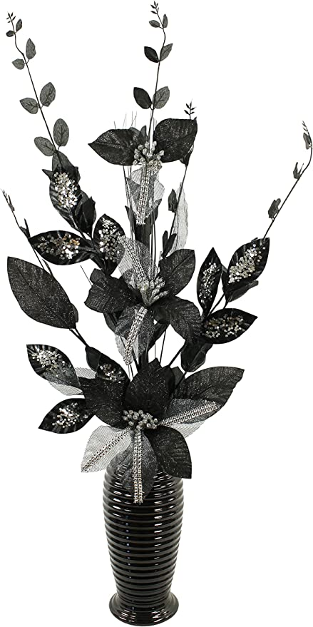 Amazon Com Flourish White Artificial Flower In Vase Black And Silver Home Kitchen
