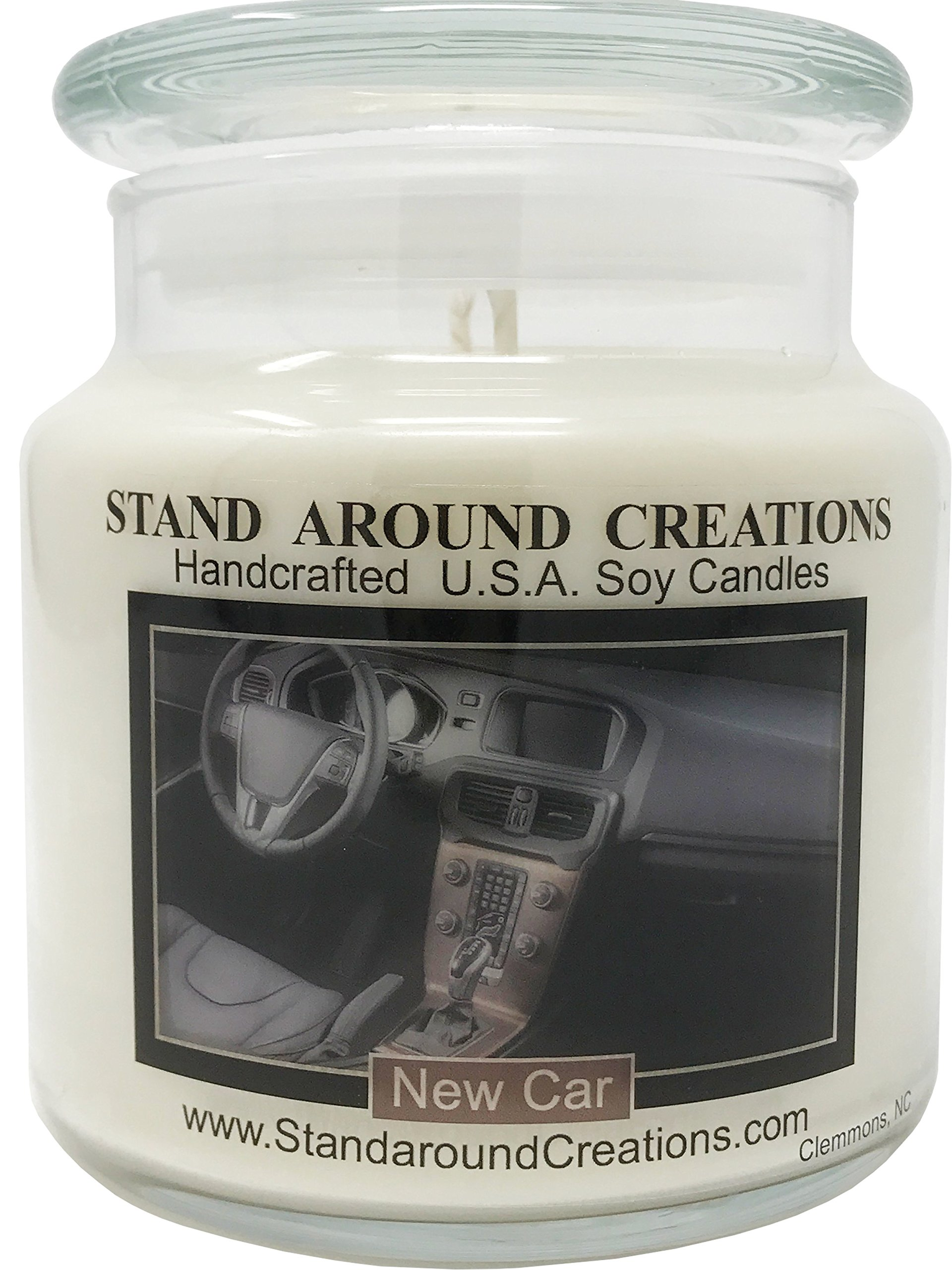 Premium 100% All Natural Soy Apothecary Candle -16 oz.- New Car - A Popular Bathroom fragrance. The smell of a new sports car w/ Italian leather seats! Naturally Strong, Highly Scented.