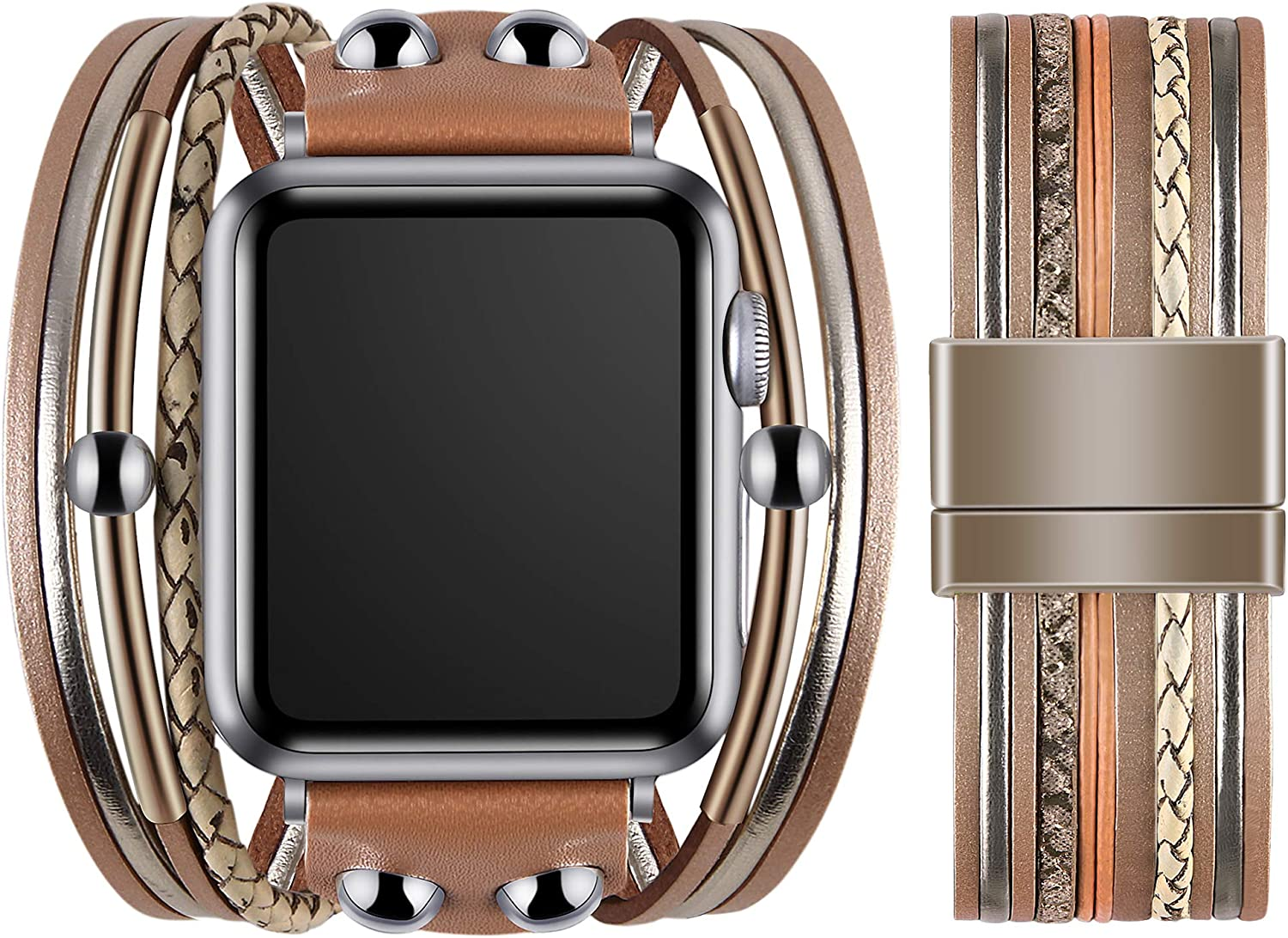 VIQIV Multi-Layer Wrap Bracelet Band Compatible with Apple Watch 38mm 40mm 42mm 44mm Sports Watches for Men Women, Magnetic Buckle Cuff Bracelet Jewelry Wrist Strap for iWatch Series SE 6/5/4/3/2/1