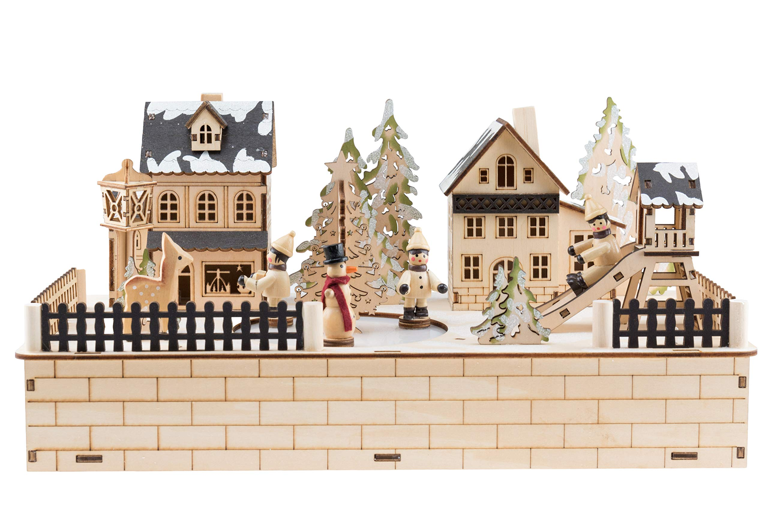 Clever Creations Traditional Winter Ice Skating Village Christmas Decoration | Battery Operated Ice Skating Rink and LED Christmas Lights | Animated 2'' Snowman and Children Figures on Frozen Pond