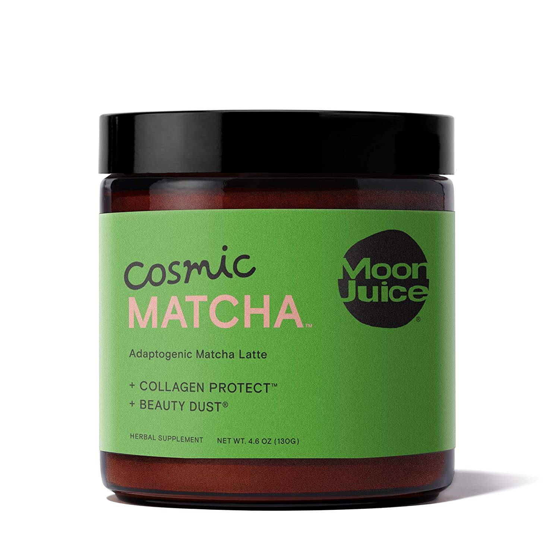 Moon Juice - Cosmic Matcha - Mushroom Based Adaptogenic Matcha Powder Latte Mix for Healthy Skin & Energy - Matcha, Ashwagandha, Hyaluronic Acid & Silver Ear Mushroom - Non-GMO, Gluten-Free (4.6oz)