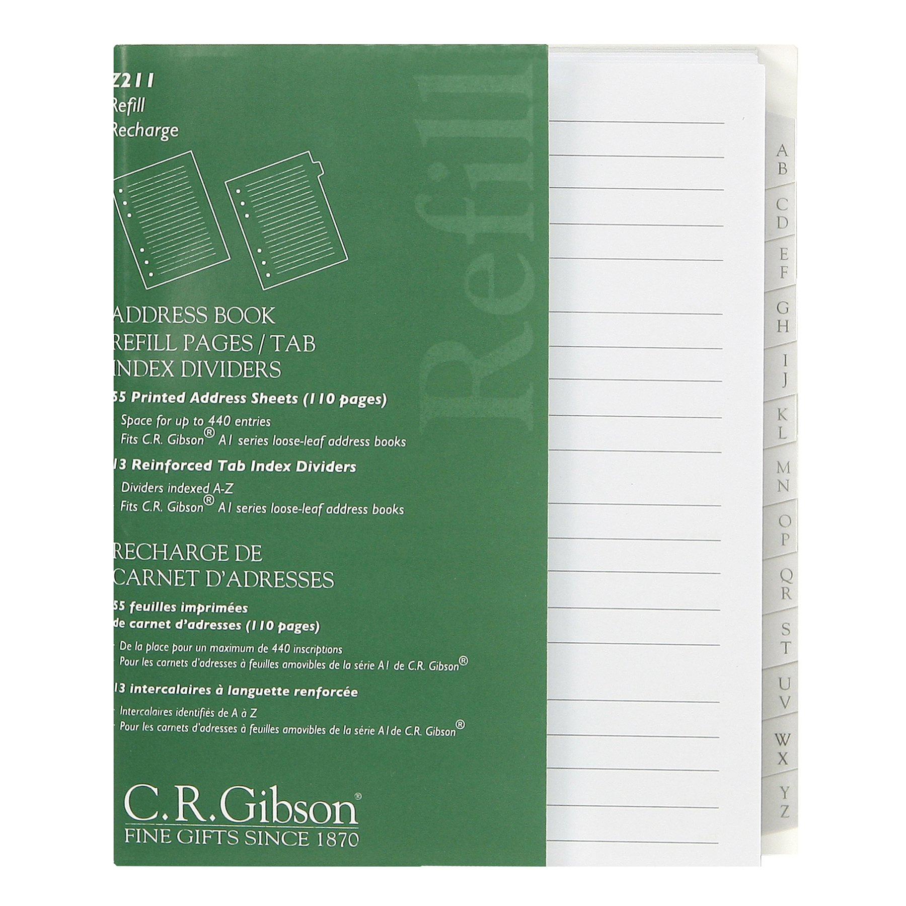 C.R. Gibson Address Book Refill Pages With Tab Index Dividers (Z211)