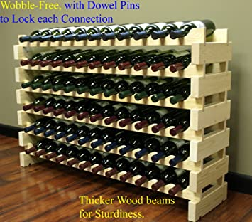 Stackable Wine Rack Stackable Storage Stand Display Shelves, Wobble-Free,  Pine wood,