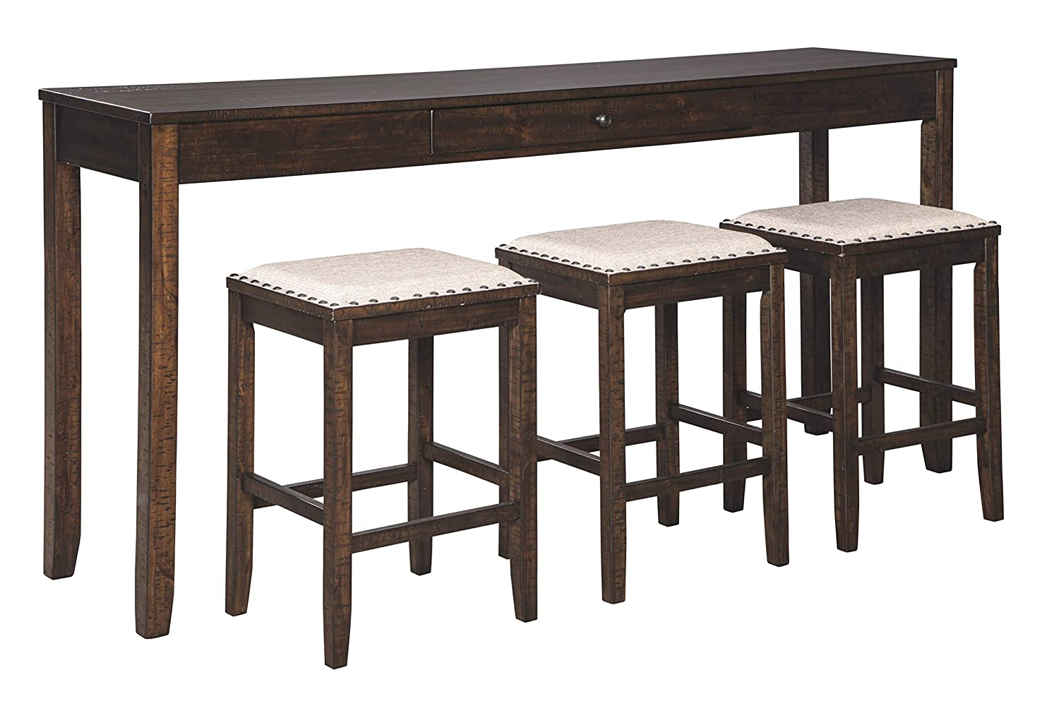 Signature Design By Ashley - Rokane Rectangular Dining Room Counter Table Set- Set of 4 - Casual Style - Brown