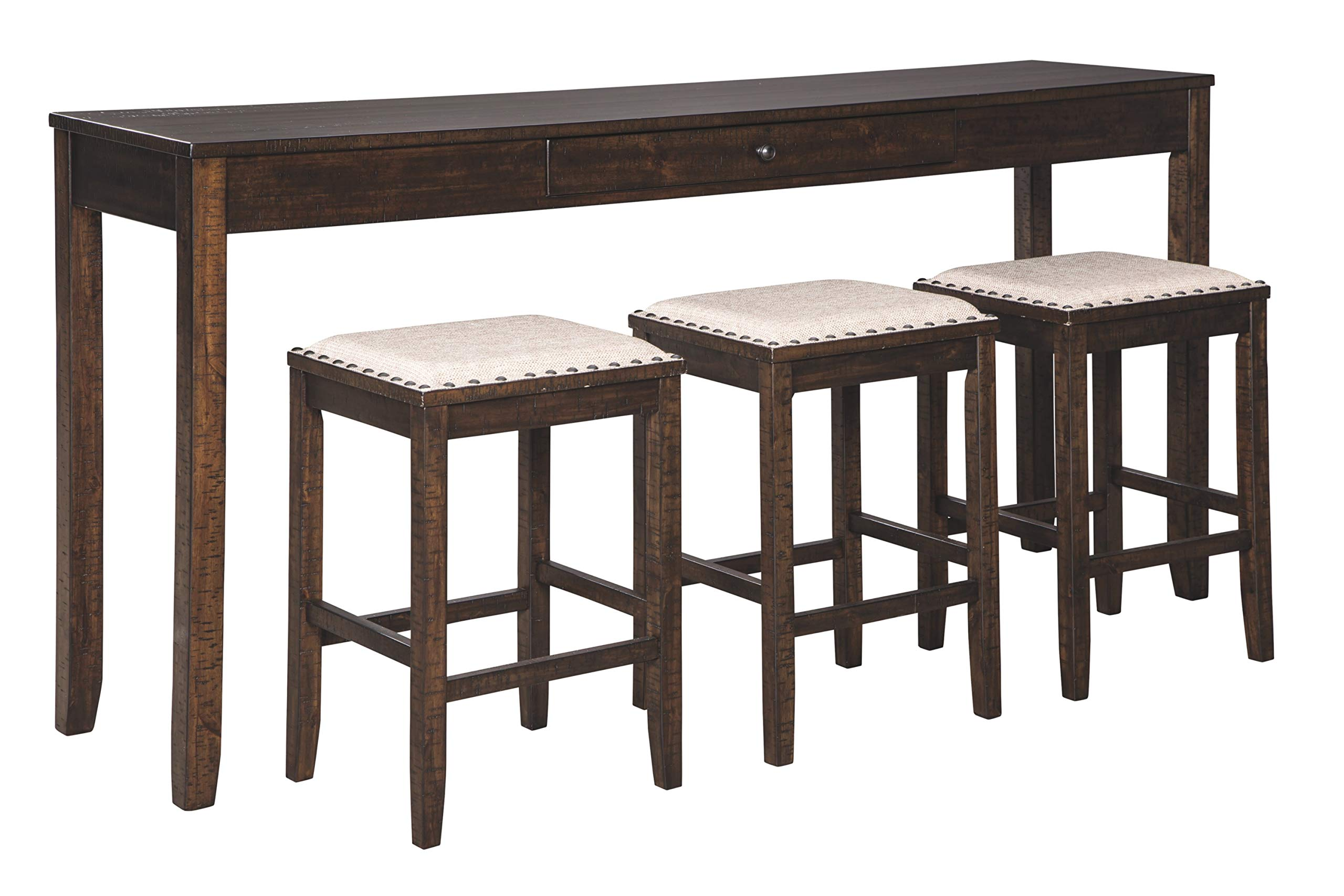 Signature Design By Ashley - Rokane Rectangular Dining Room Counter Table Set- Set of 4 - Casual Style - Brown by Signature Design by Ashley