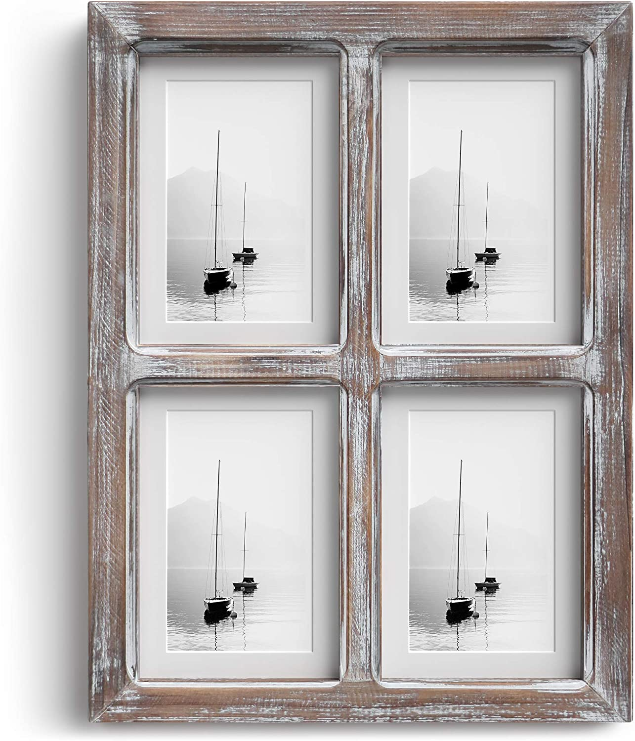 """Barnyard Designs Rustic Multi Picture Window Pane Frame, Distressed Wood Frame for Multiple Photos, Family Photo Collage Board, Farmhouse Wall Decor, Brown, 16"""" x 12"""""""